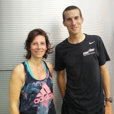 Nathalie et Yves, son coach et conseiller technique de la commission Triathlon Féminin à la LBFTD